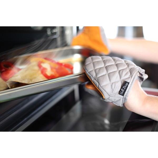 Pomarańczowo-szara bawełniana łapka kuchenna z silikonem Vialli Design