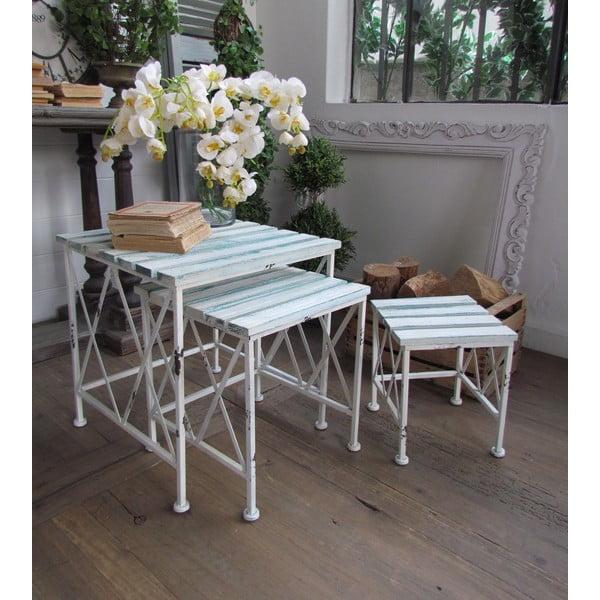 Zestaw 3 stolików White Turquoise