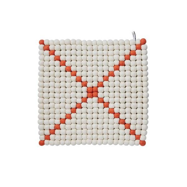 Dywan modułowy Wool Mat White/Coral, 40x40 cm