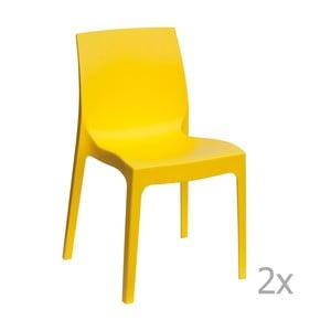 Zestaw 2 żółtych krzeseł Castagnetti Rome