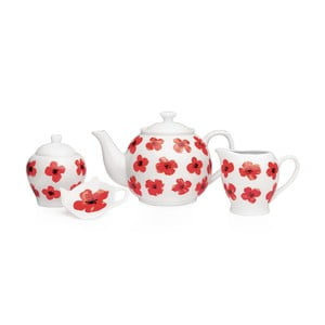 Komplet dzbanka do herbaty, mlecznika, podstawki i cukierniczki Sabichi Spring Poppy