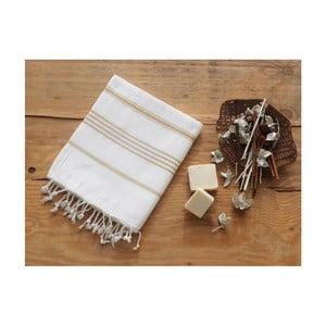 Brązowo-biały ręcznik Hammam Sultan, 100x180 cm
