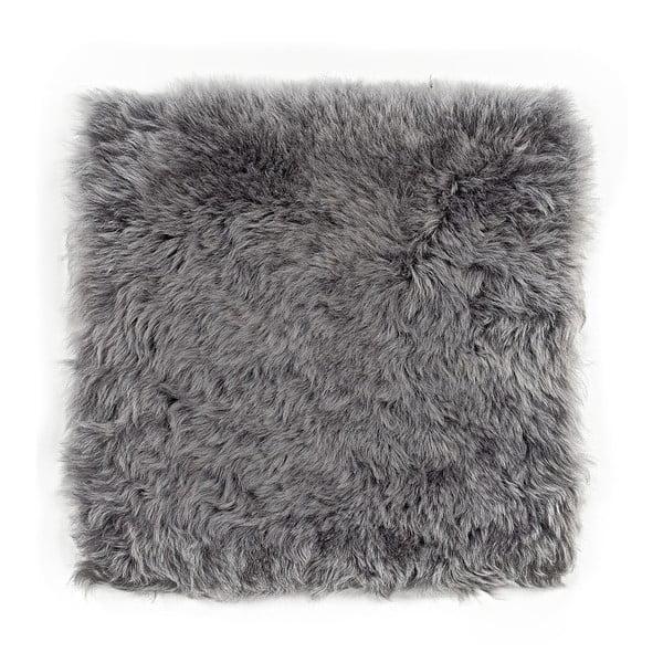 Szara poduszka futrzana do siedzenia z krótkim włosiem, 37x37 cm