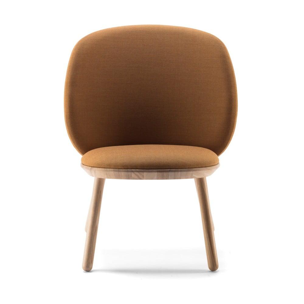 Żółty fotel z jesionu z elementami skórzanymi EMKO Naïve