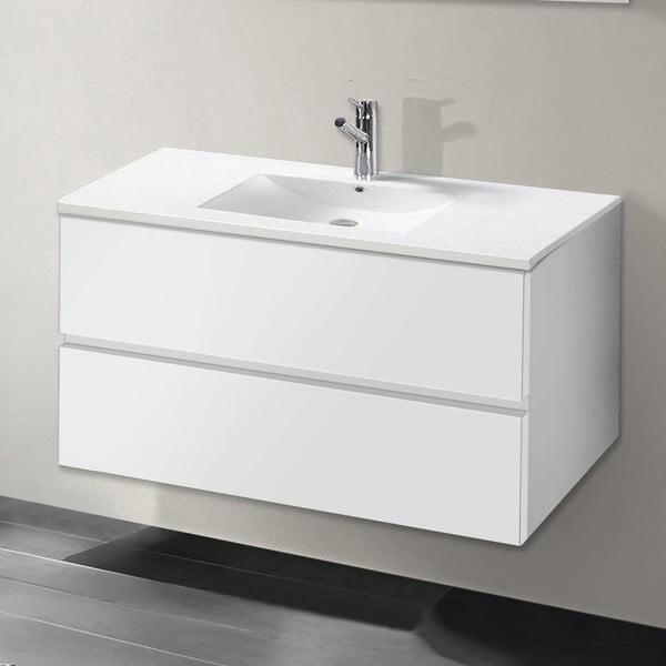 Szafka do łazienki z umywalką i lustrem Flopy, odcień bieli, 80 cm