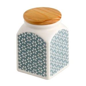 Ceramiczny pojemnik Turkusowe kwiaty, 9x9x12.5 cm