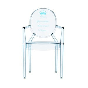 Przezroczyste krzesełko dziecięce Kartell Lou Lou Ghost Blue Crown