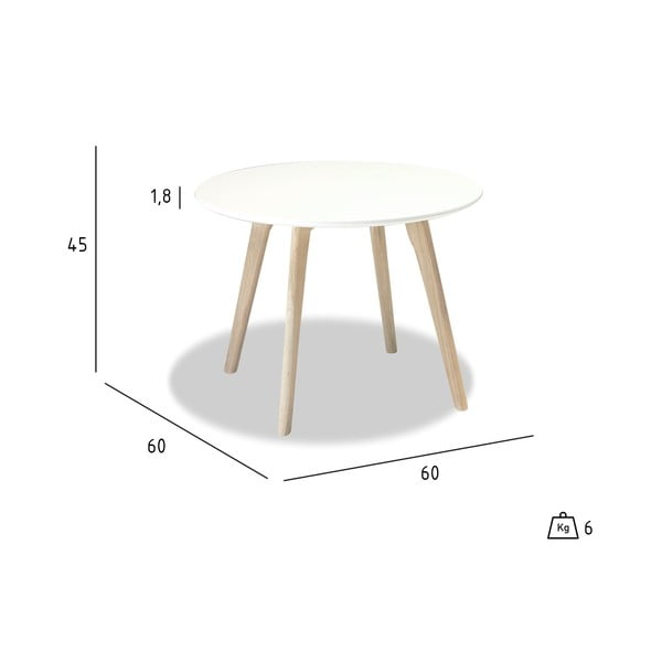 Biały stolik drewniany Furnhouse Life, Ø 60 cm