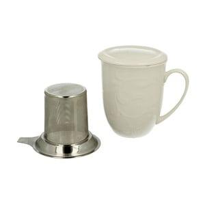 Biały kubek porcelanowy z metalowym sitkiem Duo Gift Hemingway, 300 ml