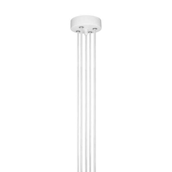 Biała pięcioramienna lampa wisząca z białą oprawką Bulb Attack Cero Group