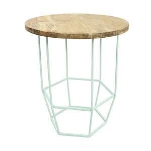 Jasnozielony stolik z drewnianym blatem HF Living Hexa Mint
