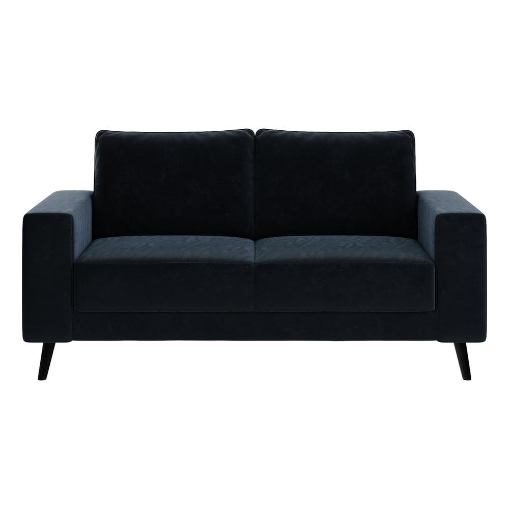 Granatowa aksamitna sofa Ghado Fynn, 168 cm