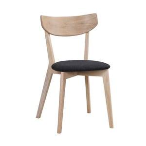 Matowe krzesło dębowe z czarnym siedziskiem Folke Aegi