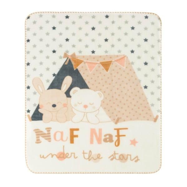 Koc dziecięcy z beżowymi detalami Naf Naf Under The Stars, 110x140 cm