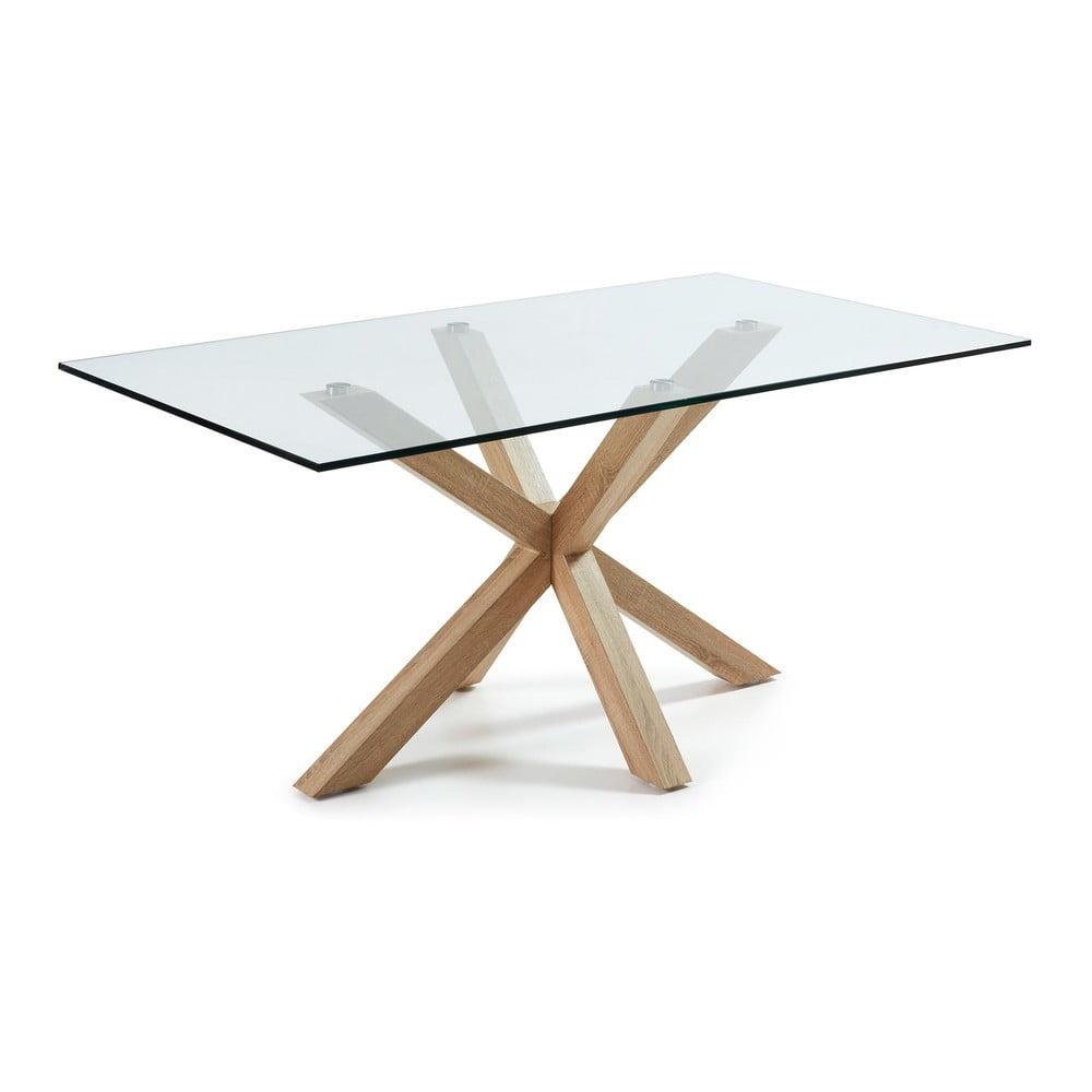 Szklany stół do jadalni z naturalną konstrukcją La Forma, 160 x 90 cm