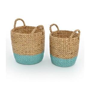 Zestaw 2 wiklinowych koszyków Beige/Blue