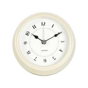 Kremowy zegar ścienny Present Time Fifties, średnica 11,5cm