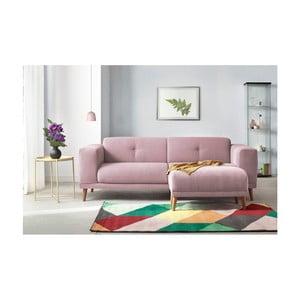 Różowa sofa 3-osobowa z podnóżkiem Bobochic Luna