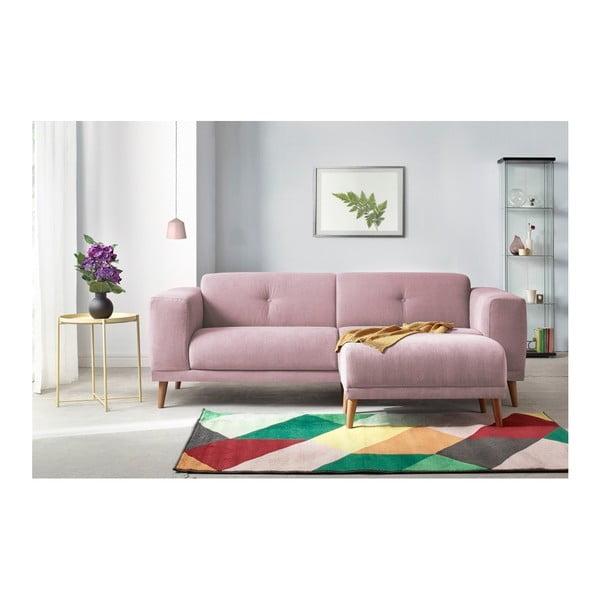Różowa sofa 3-osobowa z podnóżkiem Bobochic Paris Luna