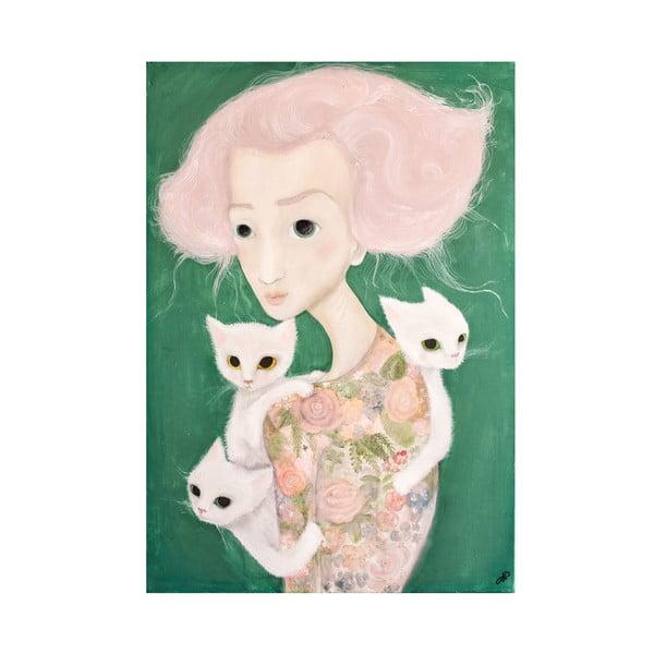 Autorski plakat Lény Brauner Panna z kotami, 60x82 cm