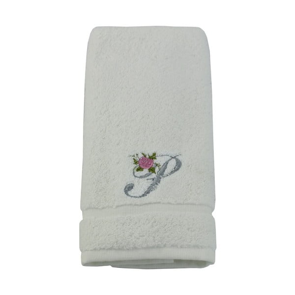 Ręcznik z inicjałem i różyczką P, 30x50 cm