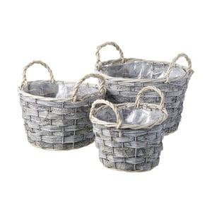 Zestaw 3 koszyków Grey Round