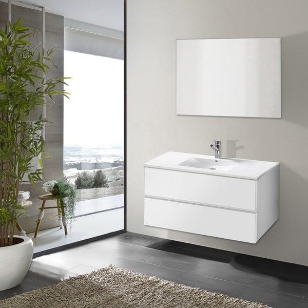 Szafka do łazienki z umywalką i lustrem Flopy, odcień bieli, 90 cm