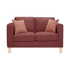 Różowa sofa dwuosobowa z 2 pomarańczowymi poduszkami Stella Cadente Canoa