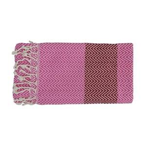 Różowy ręcznie tkany ręcznik z bawełny premium Damla,100x180 cm