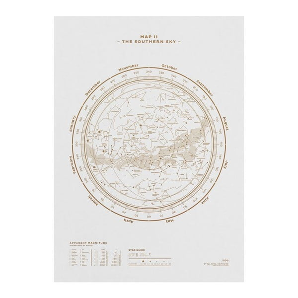 Plakat The Southern Sky Gold/White, 50x70 cm