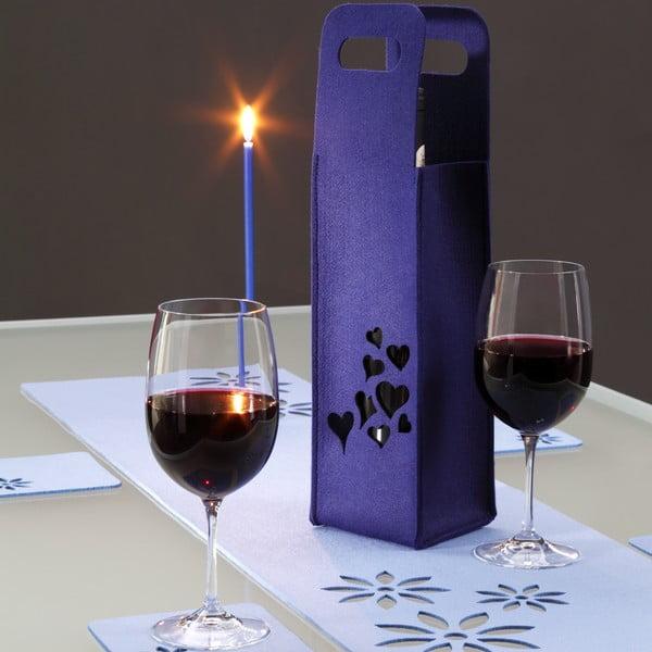 Filcowa torebka na wino, szklanka, niebieska