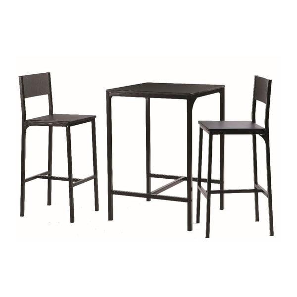 Stolik barowy z krzesłami Black Set