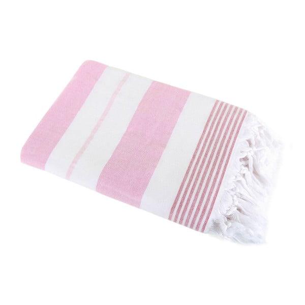 Różowy ręcznik Hammam Leodikia, 100x150 cm