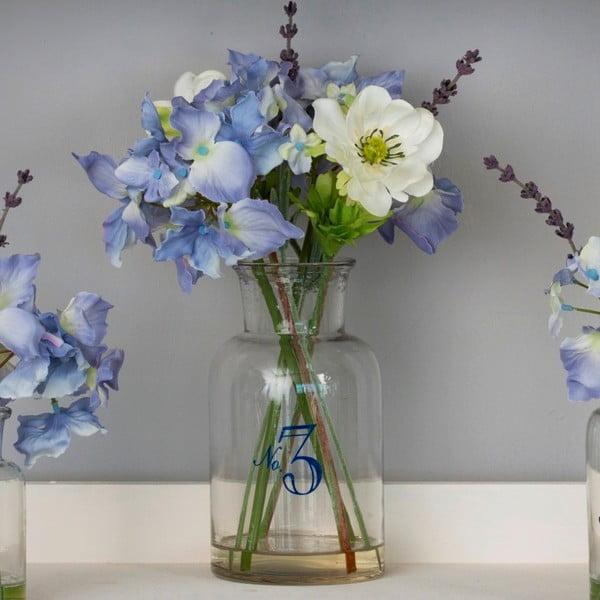 Szklany wazon ze sztucznymi kwiatami Lavander, 36 cm