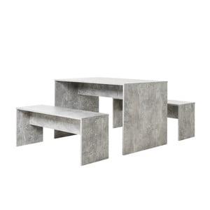 Stół z 2 ławkami w kolorze betonu Intertade Berlin