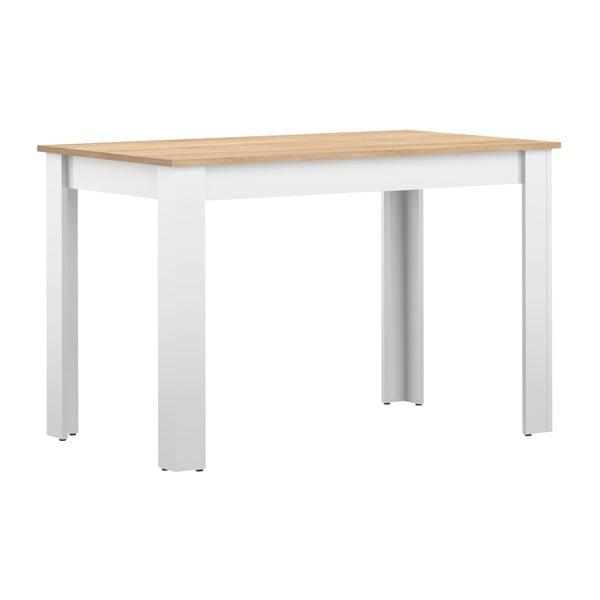 Biały stół z blatem z dekorem drewna bukowego TemaHome Nice, 110x70 cm