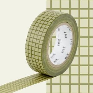 Zielono-biała taśma dekoracyjna washi MT Masking Tape Quadrillé