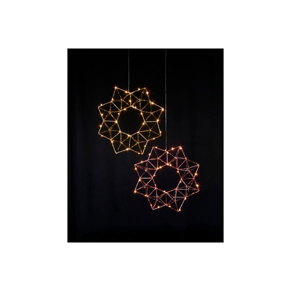 Wisząca dekoracja świecąca LED Best Season Polygon Brass