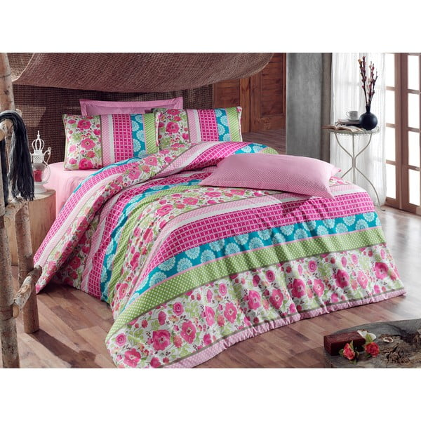 Różowa pościel na łóżko jednoosobowe z prześcieradłem Love Colors Novel, 160 x 220 cm