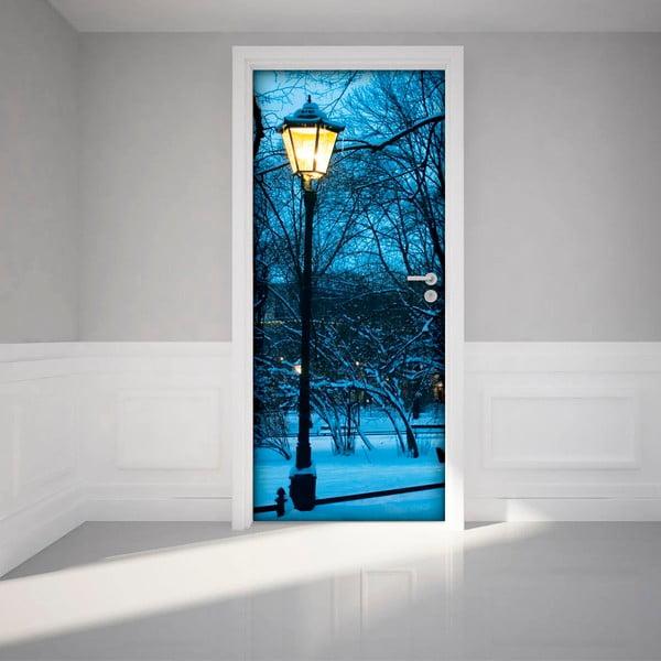 Naklejka   elektrostatyczna na drzwi Ambiance Winter Street Lamp