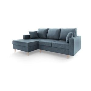 Niebieska 4-osobowa sofa rozkładana Mazzini Sofas Aubrieta, lewostronna