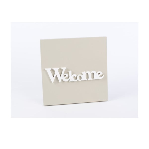Drewniany obraz Welcome 30x30 cm, beżowy