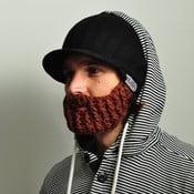 Czarna czapka z odpinaną, brązową brodą Beardo Original