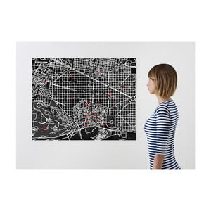 Czarna mapa ścienna Palomar Pin Barcelona