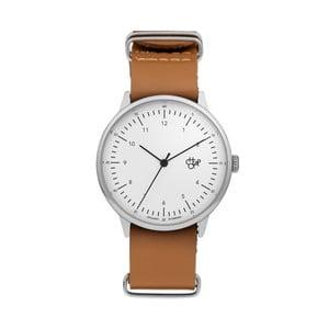 Zegarek z brązowym paskiem i białą tarczą Cheapo Harold