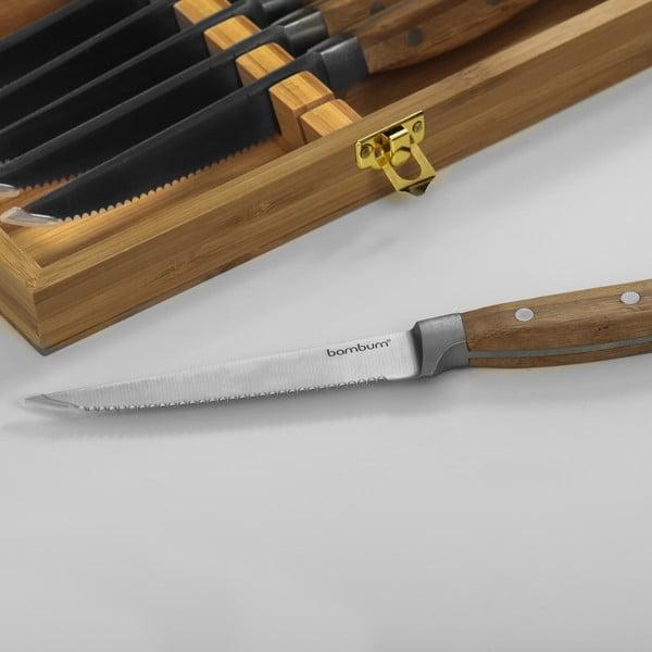 Bambusowy zestaw noże do steków Hesso