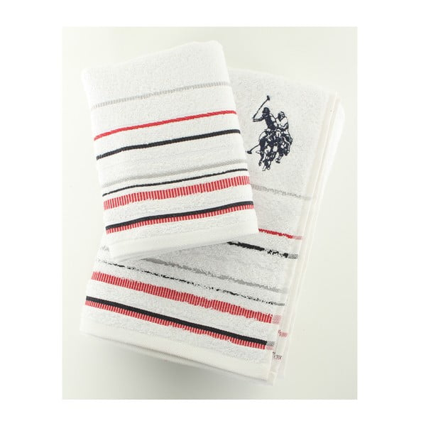 Komplet 2 ręczników Set U.S. Polo Assn. White, 50x90 a 70x140 cm