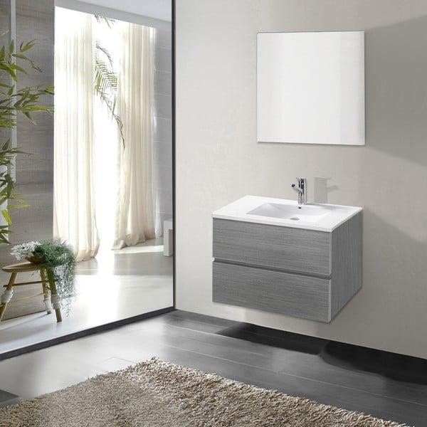 Szafka do łazienki z umywalką i lustrem Flopy, odcień szarości, 60 cm
