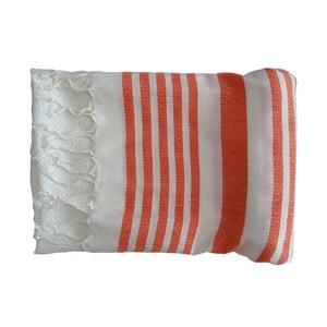 Czerwono-biały ręcznie tkany ręcznik z bawełny premium Petek,100x180 cm