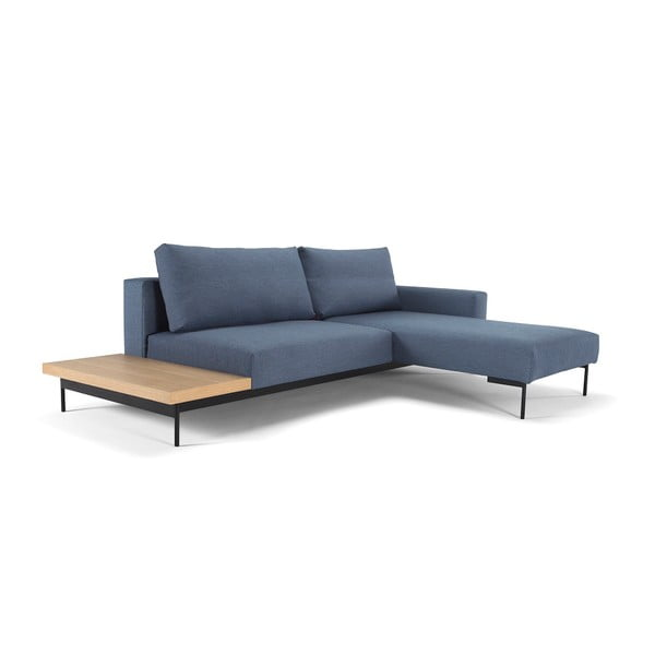 Niebieska sofa rozkładana ze stolikiem Innovation Bragi